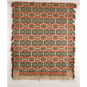 Three-color Wool and Cotten Beiderwand Weave Coverlet