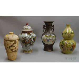 Three Chinese Vases and a Covered Urn