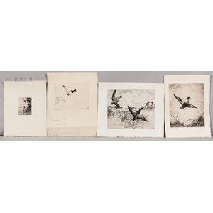 Frank Weston Benson (American, 1862-1951)      Four Etchings of Ducks:   Scaling Down
