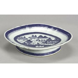 Canton Porcelain Footed Oval Serving Dish