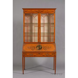 Edwardian Painted Satinwood Bureau/Bookcase