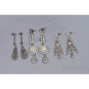 Three Pairs of Antique Silver Earpendants