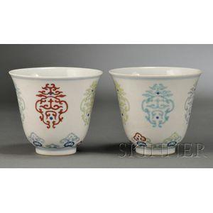 Pair of Doucai Cups