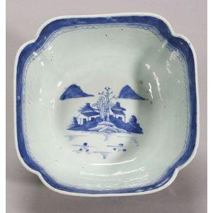 Canton Porcelain Cut-Corner Bowl