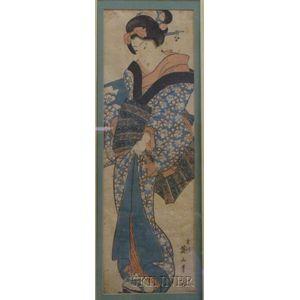 Eizan:  Courtesan in Elegant Kimono