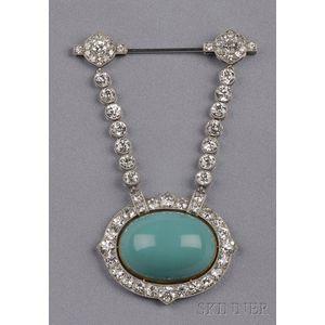 Turquoise and Diamond Drapery Brooch, Droguet,