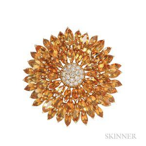 18kt Gold, Citrine, and Diamond Flower Brooch, Asprey