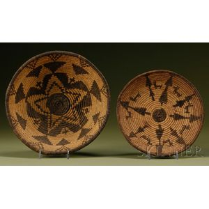 Two Southwest Coiled Basketry Trays
