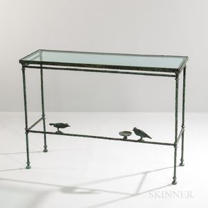 """Patinated Bronze """"Console aux Deux Oiseaux"""" Attributed to Diego Giacometti (Swiss, 1902-1985)"""