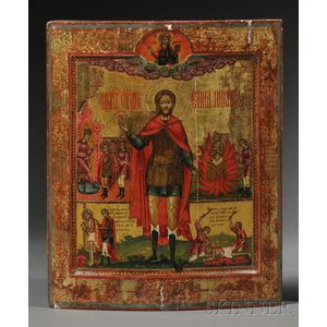 Russian Icon Depicting Saint John the Warrior