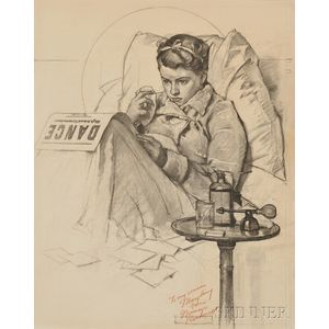 Norman Rockwell (American, 1894-1978)      Study for Girl Sick in Bed