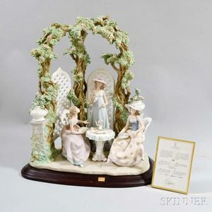 """Large Lladro Ceramic Figural Group """"Tea Time in the Garden,"""""""
