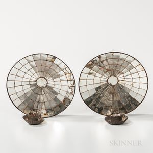 Pair of Concave Mirrored Reflector Sconces