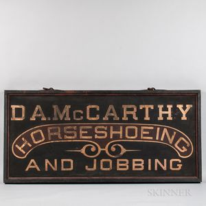 """Black and Maroon-painted and Gilt-lettered  Double-sided """"D.A. McCarthy Horseshoeing and Jobbing"""" Sign"""