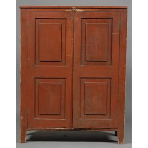 Red Painted Pine Cabinet