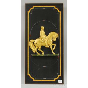 Civil War Commemorative Gilt-metal General Grant-mounted Polychrome-painted Wood   Wall Plaque