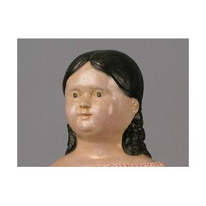 Early Papier-mache Doll with Long Molded Curls