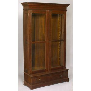 Victorian Glazed Walnut Two-Door Book Cabinet over Long Drawer.