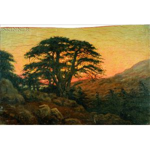 Edwin Lord Weeks (American, 1849-1903)    Old Pine, Sunset