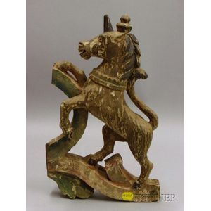 English Carved and Painted Unicorn