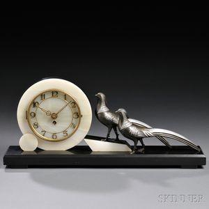 Alabaster and Belgian Slate Art Deco Desk Clock