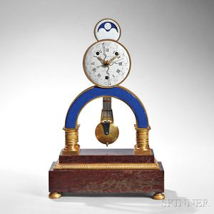 Louis XVI Enamel-mounted Ormolu and Marble Quarter-chiming Skeleton Clock with Calendar