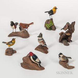 Eight Miniature Carved and Painted Bird Figures