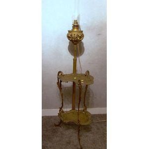 B & H Victorian Cast Metal Piano Floor Kerosene Lamp