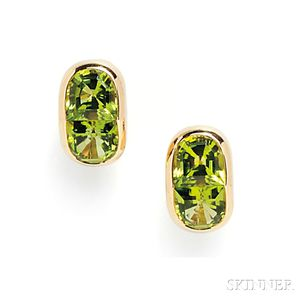 18kt Gold and Peridot Earclips
