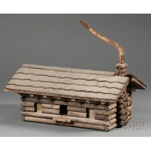 Painted Wood and Sheet Iron Log Cabin Weather Vane