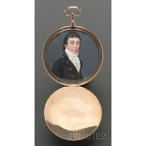 Portrait Miniature of a Gentleman Wearing a Blue Jacket