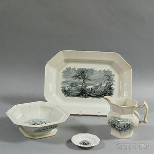 Four Transfer-decorated Ceramic Items
