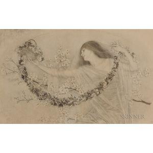 Lilian Westcott Hale (American, 1881-1963)      Lady with Garlands
