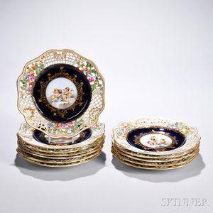 Set of Twelve Porcelain Dessert Plates