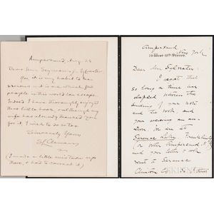 Twain, Mark (1835-1910) and Olivia Langdon Clemens (1845-1904) Two Autograph Letters Signed, 28 August, [1901?] Ampersand, New York.
