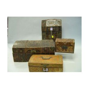 Four Gilt and Painted Tooled Leather-clad Document Boxes.