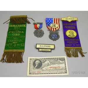 Six Early 20th Century U.S. Democratic Ribbons and Related Ephemera