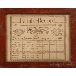 Framed Ink on Paper Family Record