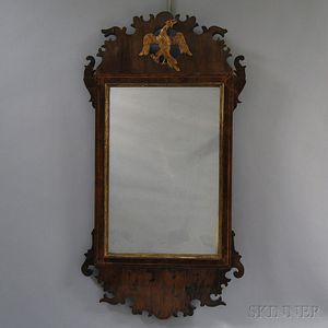 Chippendale Carved and Inlaid Mahogany Scroll-frame Mirror