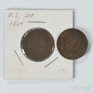 Two 1864 Large Motto Two Cents