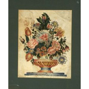 American School, 19th Century  A Theorem:  Bouquet of Flowers in a Footed Bowl.