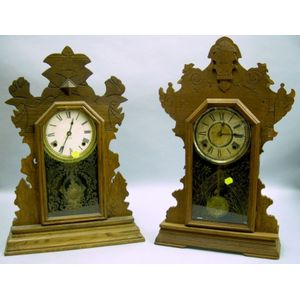 Two Gingerbread Shelf Clocks