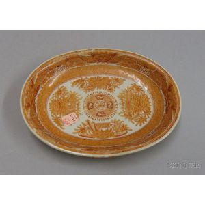 Chinese Export Porcelain Orange Fitzhugh Pattern Oval Serving Dish