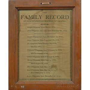 Framed Printed Family Record