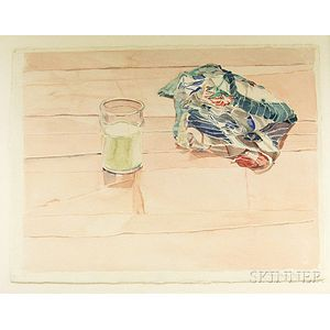 Two 20th Century American Watercolors:      Harriet Shorr (b. 1939), Still Life with a Glass of Milk