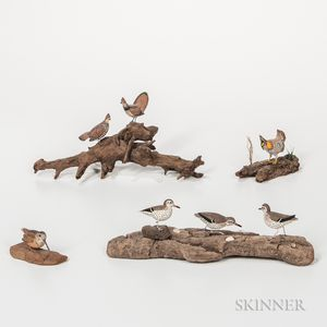 Seven Miniature Carved and Painted Bird Figures