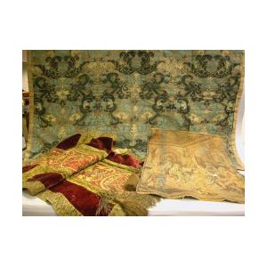 Fortuny Three-Color Resist Pattern Panel, a Brocade Panel and a Machine-woven Tapestry.
