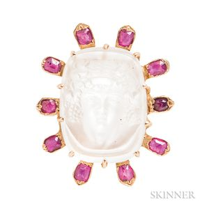 14kt Gold, Moonstone Cameo, and Ruby Ring