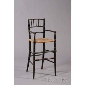 Black-painted Bamboo-turned High Chair