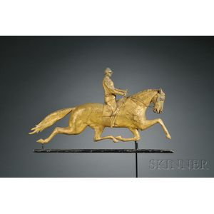 "Gilt Copper ""Dexter"" Horse and Jockey Weather Vane"